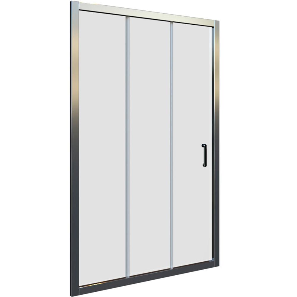 Domino klizna vrata 3 dijela bijeli profil mutno staklo