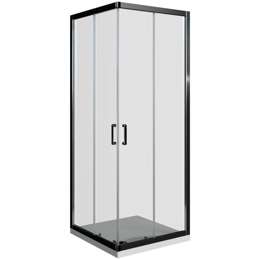 Basic kvadratna kabina krom profil prozirno staklo
