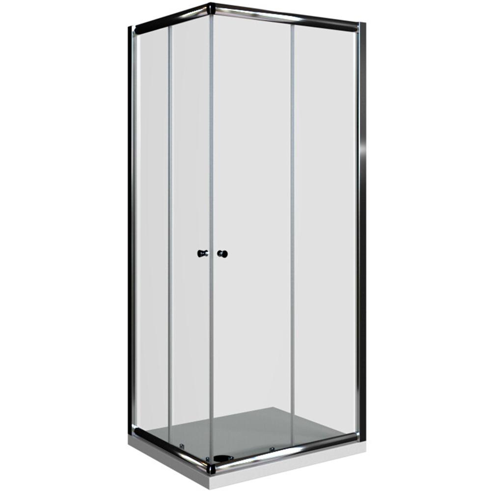 Basic pravokutna kabina 2v krom profil prozirno staklo